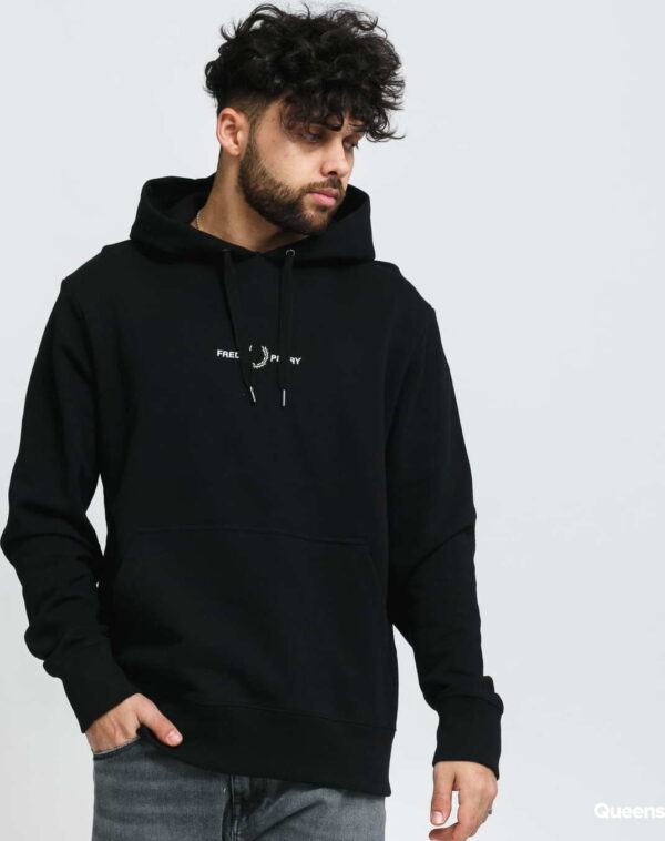 FRED PERRY Embroidered Hooded Sweatshirt černá XXL