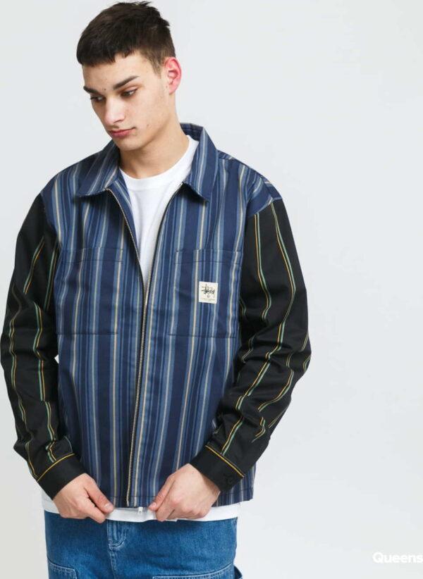 Stüssy Mix Stripe Zip Up Work LS Jacket navy / modrá / černá XL